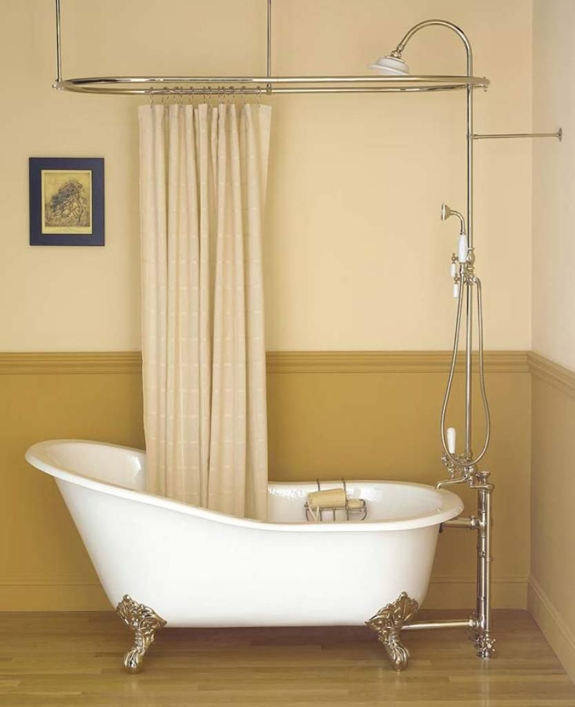 Small Bathroom with Clawfoot Tub Made Of Cast Iron Beige Shower Curtain With Wooden Floor For Small Bathroom Ideas With Cast Iron Clawfoot Tub Design