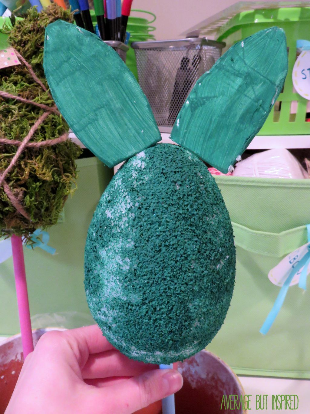 Diy moss bunny topiary craft topiary easter crafts crafts
