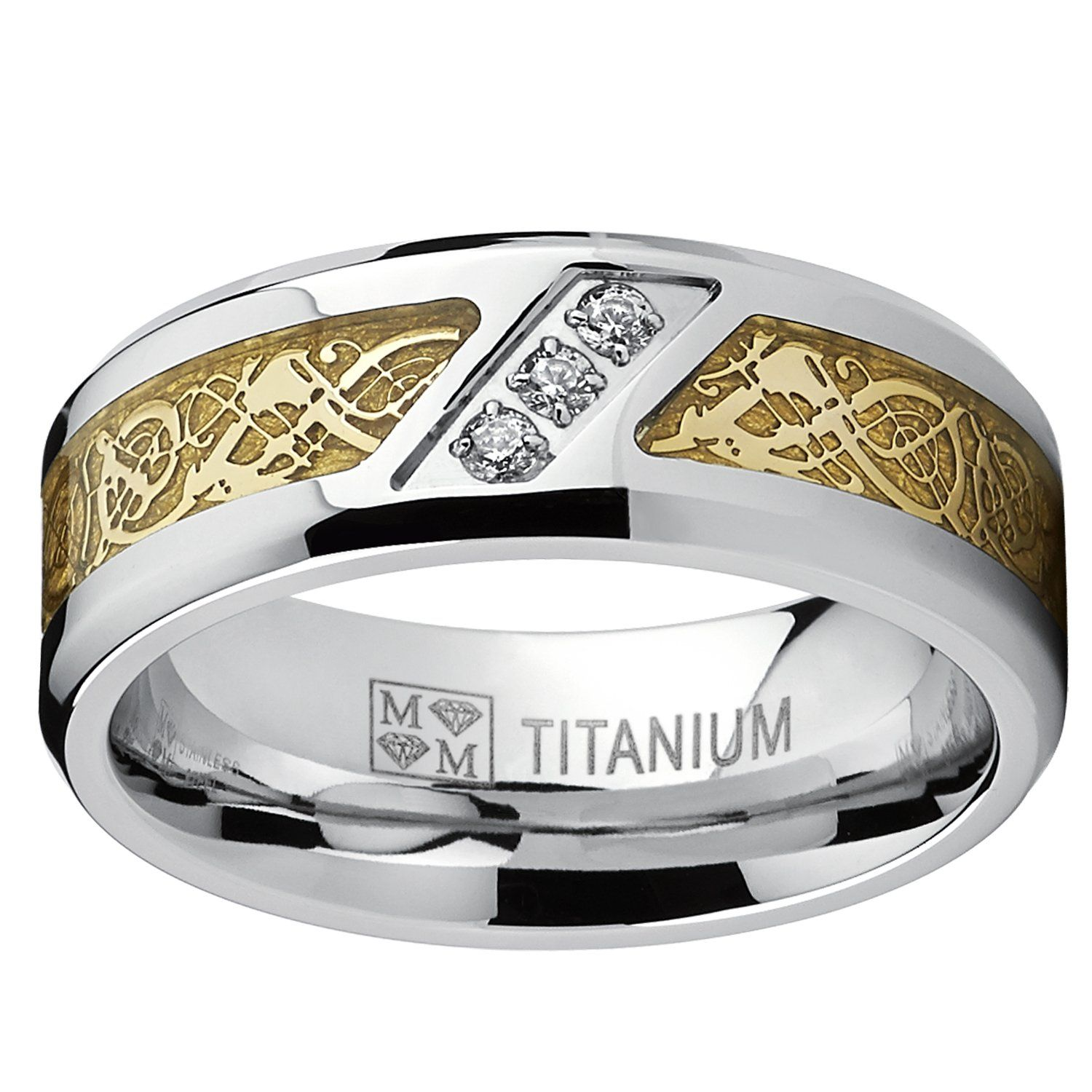 Men s Titanium Wedding Ring Engagement Band with Dragon Design and