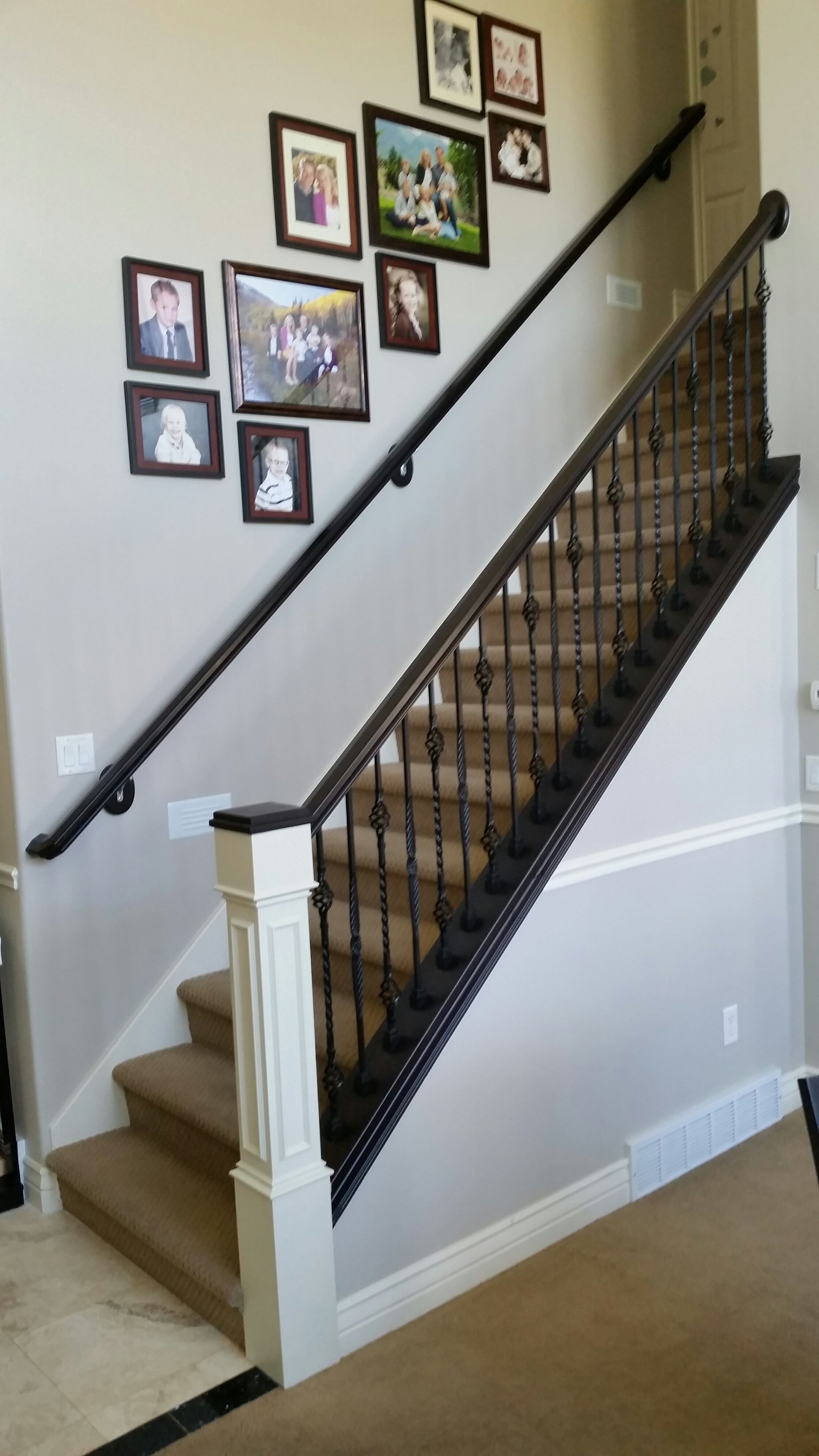 Refinished Staircase Railings By Chameleon Painting SLC, UT. Custom Gel  Stain Match With Impressive