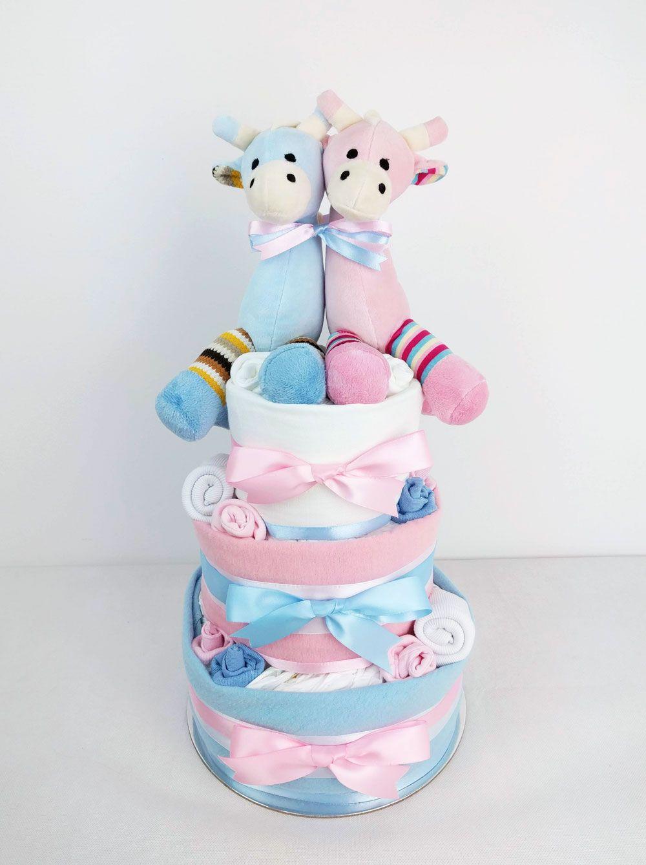 Neutral Single One Tier Unisex Baby Boy Girl Nappy Cake with Cute Zebra Baby Shower Maternity Gift