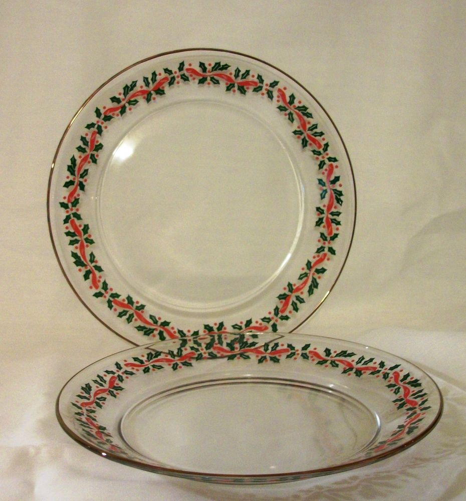 "2 Hollyberry CHRISTMAS Clear Glass SALAD PLATES Gold Trim Green Red Ribbon 8"" #Unbranded"