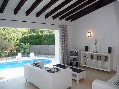 Moraira villa rental - Picture window overlooking pool