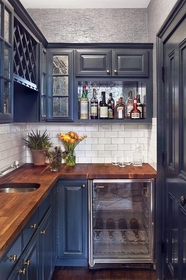 Door Kitchen Counters : Basement kitchenette navy blue cabinets butcher block