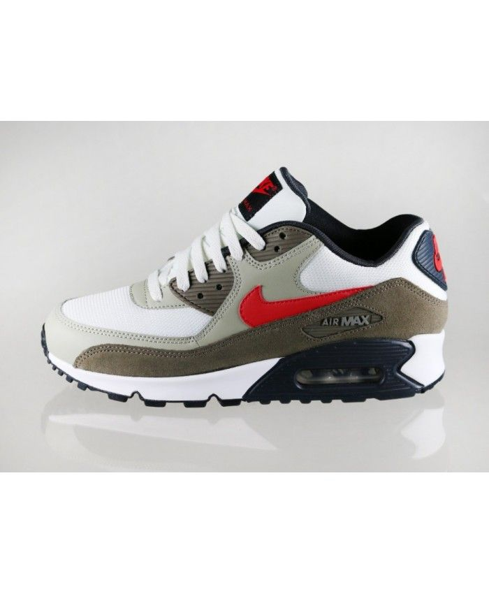 sports shoes 6bef1 74a95 Disponible Unisexe Chaussures - Nike Air Max 90 Essential Army Vert Blanche  Rouge