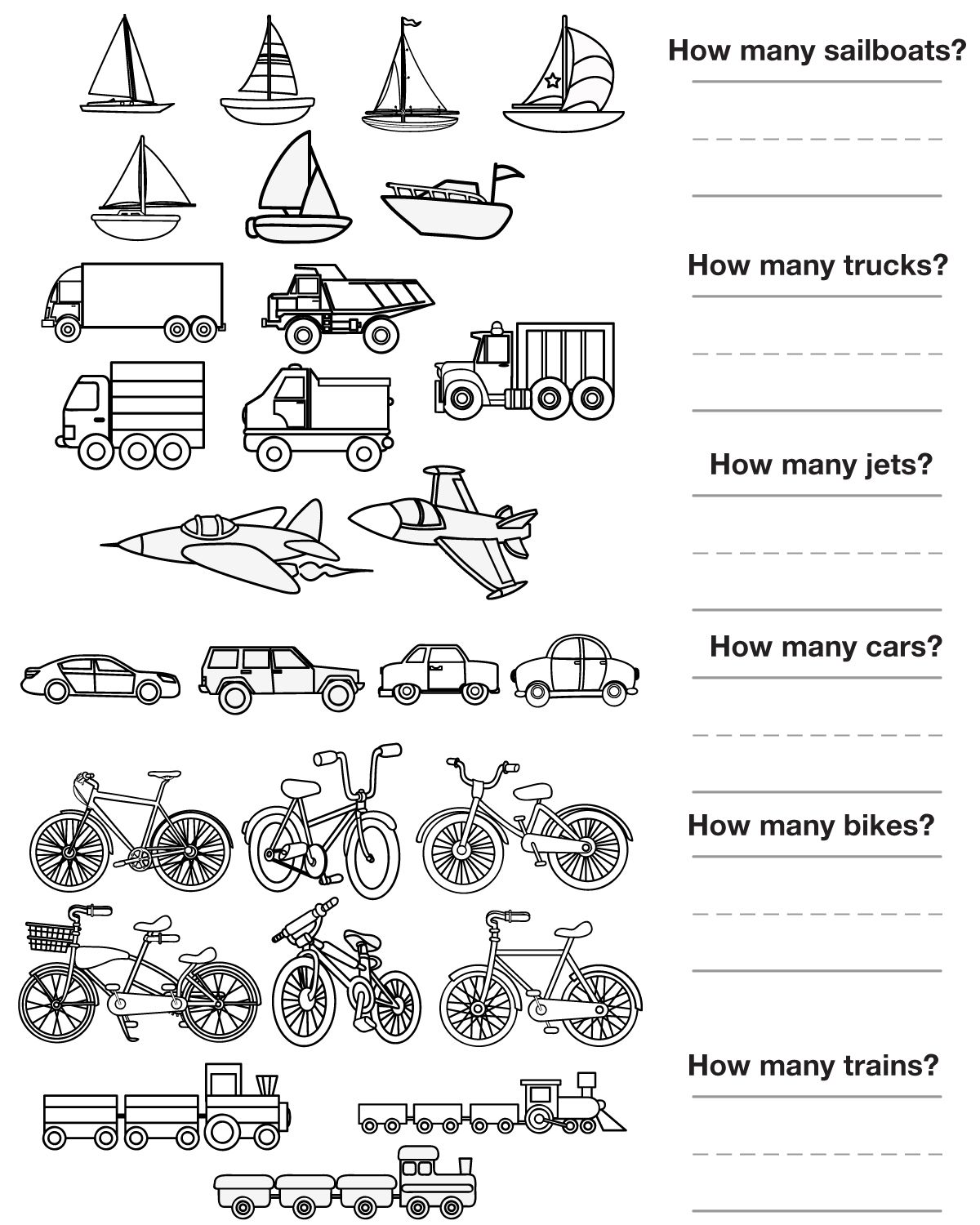 Worksheets Transportation Worksheets other graphical works maths pinterest transportation unit counting pictures to color
