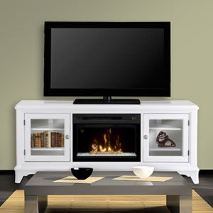 Colleen Wall Or Corner Electric Fireplace Media Console In White