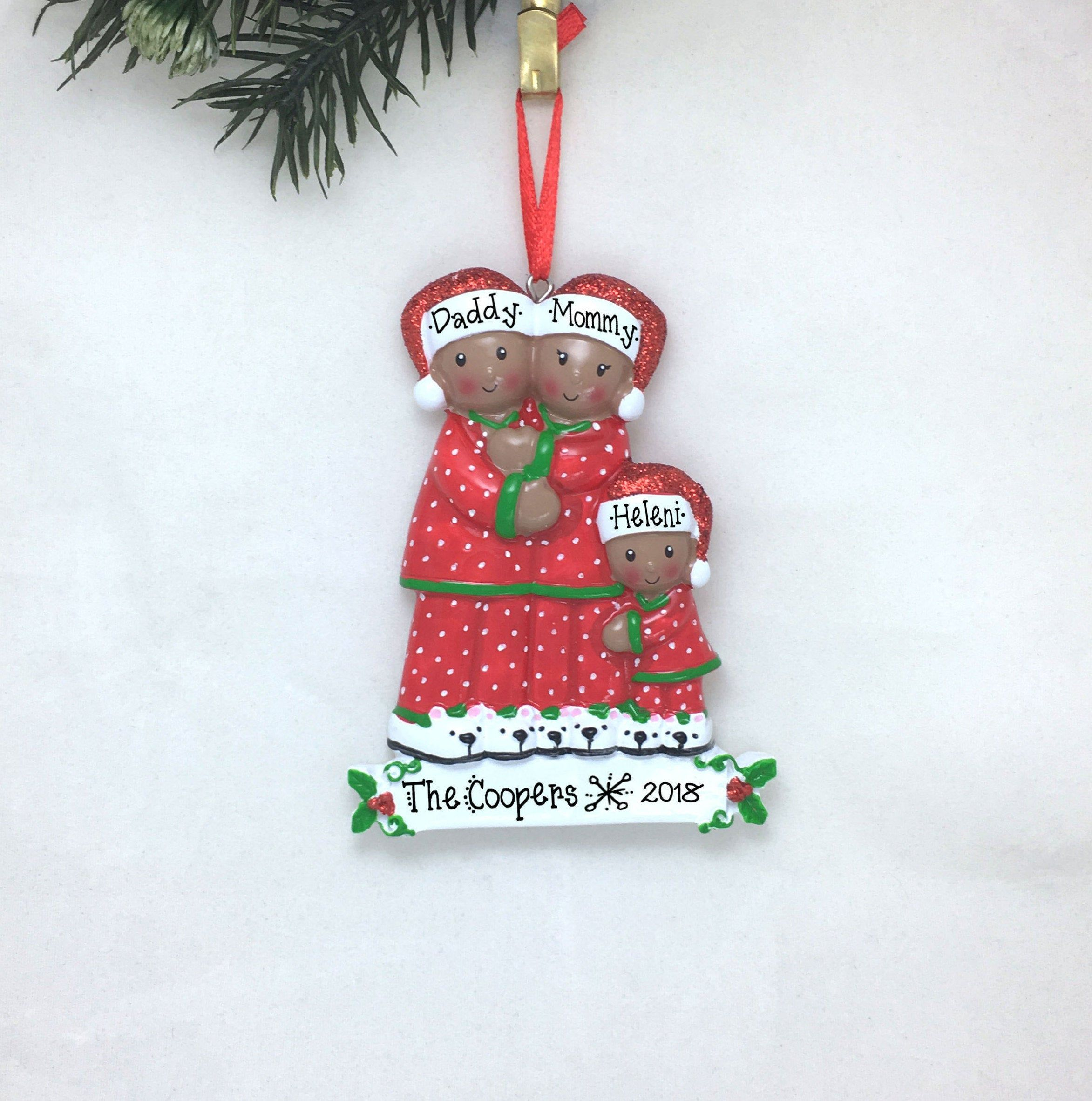 Personalised Christmas Bauble Decoration Pajama Family of 3 Ornament