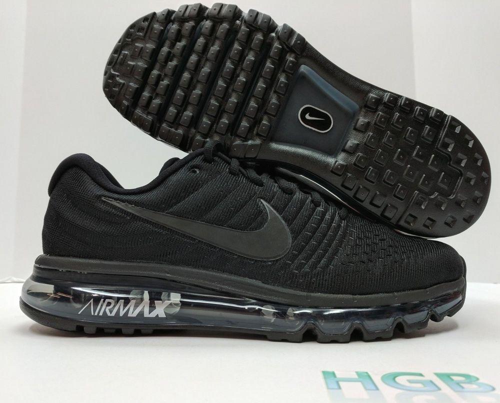 0f9d8bc410 Details about Nike Air Max 2017 Mens Triple Black Running Shoes Triple Black  849559-004 NIB