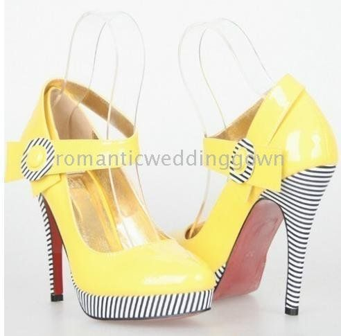 Yellow And Black Pumps Wedding Shoes