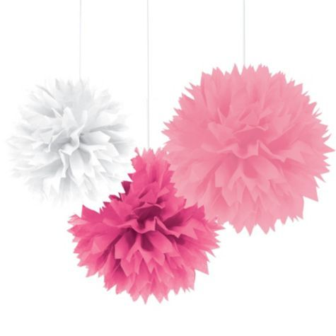 Multi Pink Fluffy Decorations - Party City