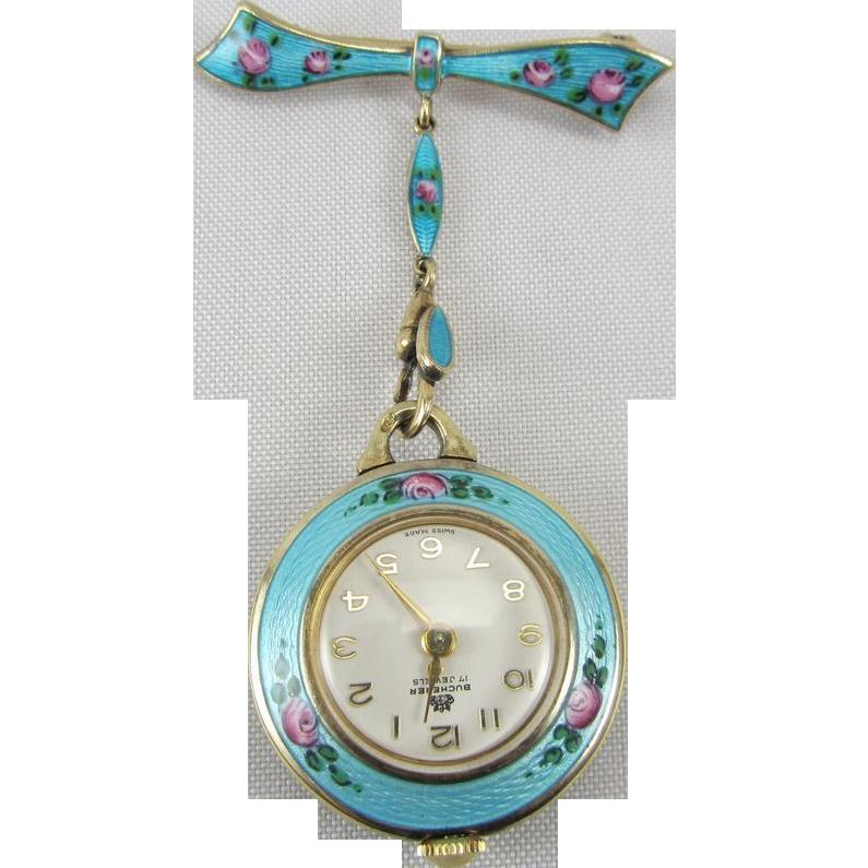Vintage Sterling Silver Guilloche Enamel Watch Pin Brooch Bucherer 17 Jewels Swiss Made In 2020 Vintage Sterling Silver Vintage Watches Pendant Watches
