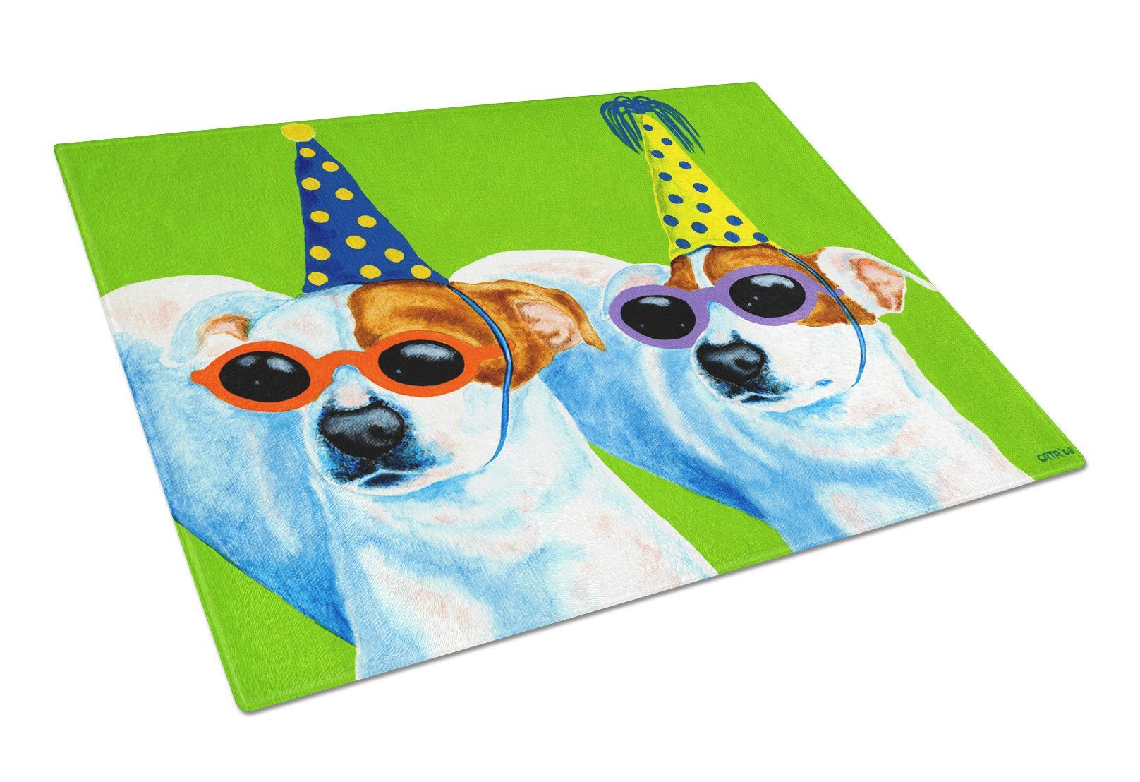 Party Animals Jack Russell Terriers Glass Cutting Board Large AMB1441LCB