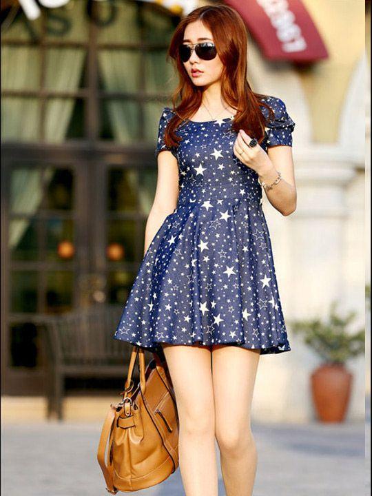 Dress blue star white http://www.nawfashion.com/