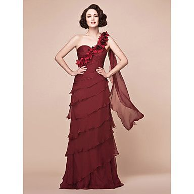 A-line One Shoulder Floor-length Chiffon Mother of the Bride Dress – USD $ 249.99