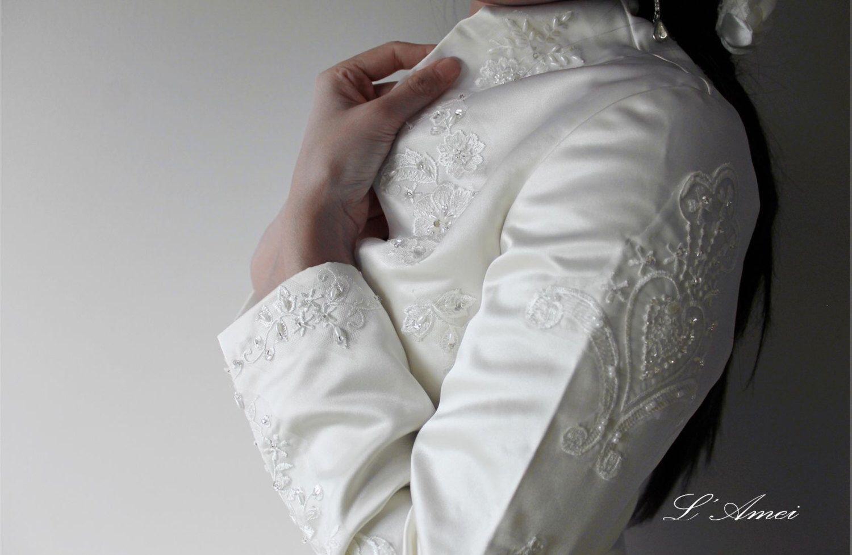 Duchess style long sleeve wedding bridal bolero jacket made with
