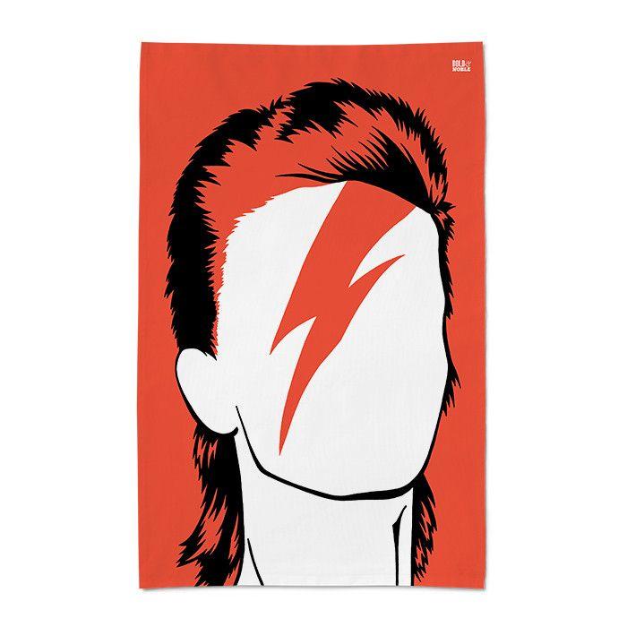 'David Bowie/Aladdin Sane' Tea Towel by Bold & Noble £10