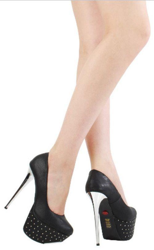 Vamp Metallic Heel Studded Platform Heel - $35