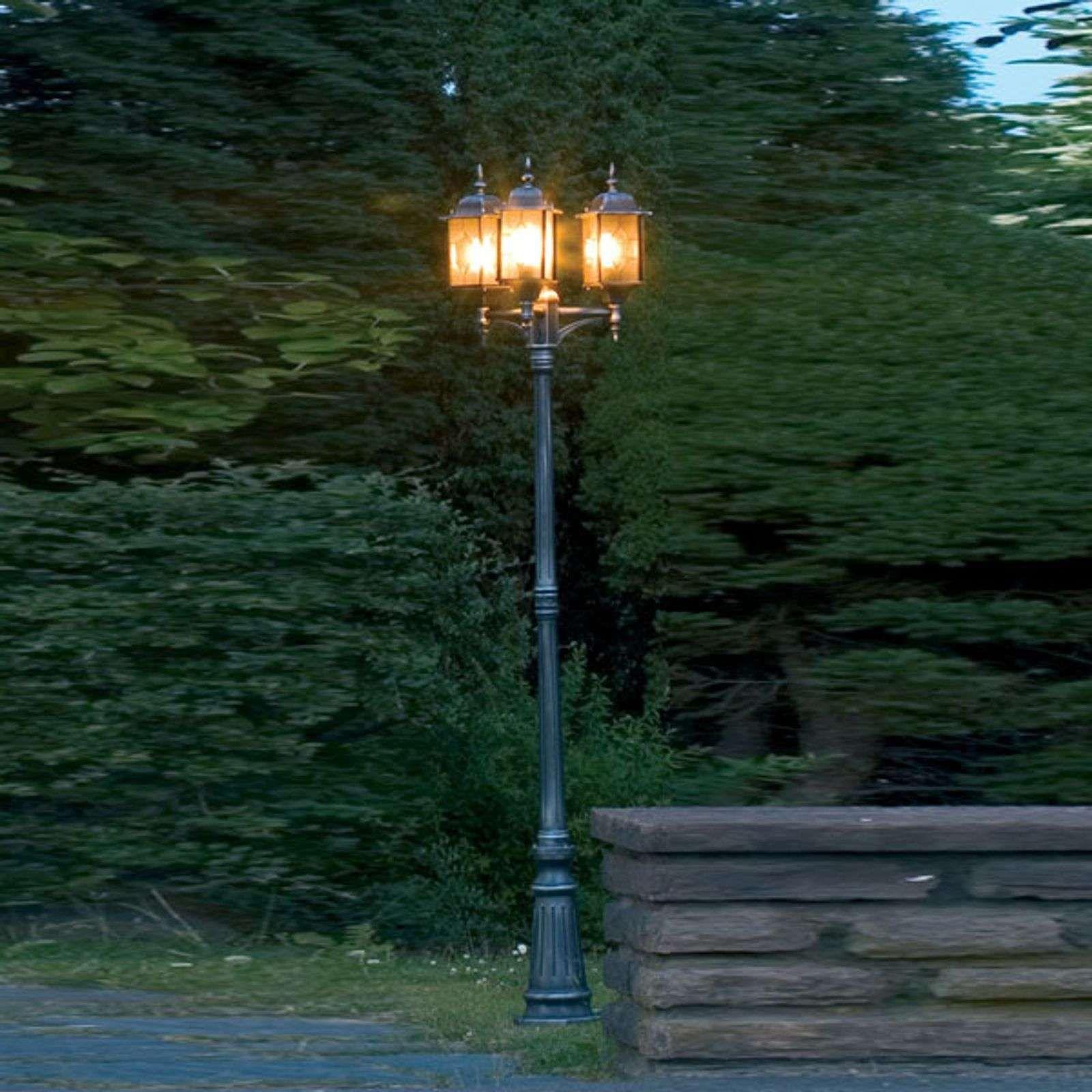 3 Lichts Buitenlantaarn Milano In Zwart En Zilver Luminaire Exterieur Design Lampadaire Lampadaire Exterieur
