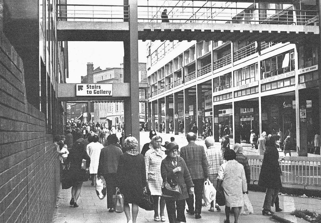 exchange street / castle market sheffield, early 1970s