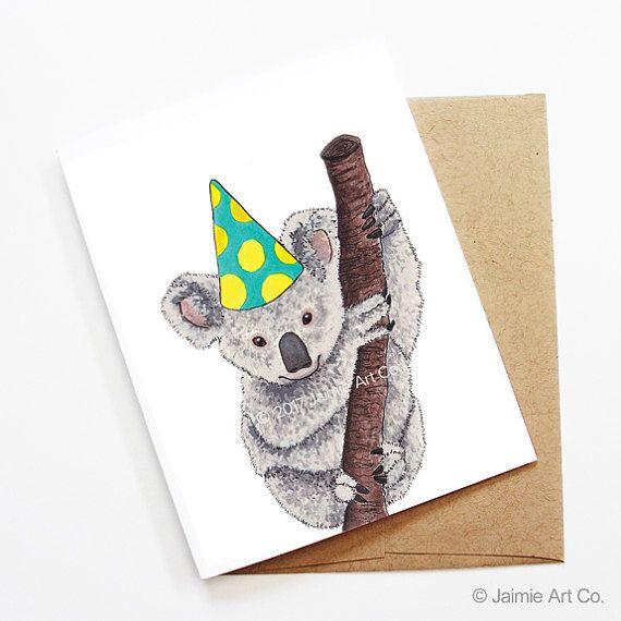 Birthday Card Koala Animal Birthday Animal Card Cute Etsy Kids Birthday Cards Animal Cards Baby Birthday Card