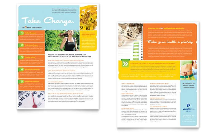Weight Loss Clinic Datasheet Template Design By Stocklayouts
