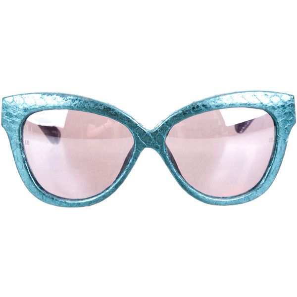 Linda Farrow Snakeskin Cat-Eye Sunglasses (€215) ❤ liked on Polyvore featuring accessories, eyewear, sunglasses, purple, purple glasses, mirrored lens sunglasses, lens glasses, linda farrow sunglasses and purple cat eye glasses