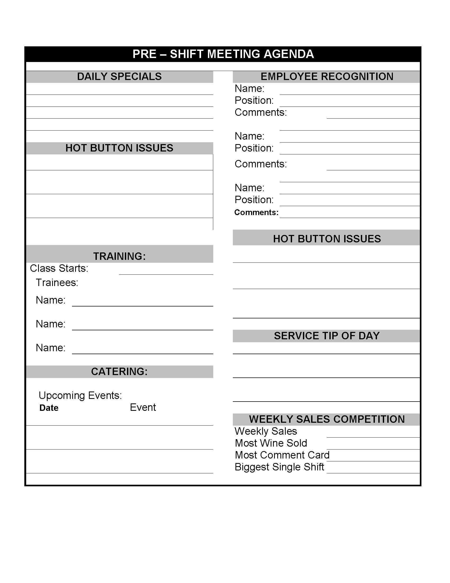 Daily Restaurant Pre Shift Meeting Sheet With Images
