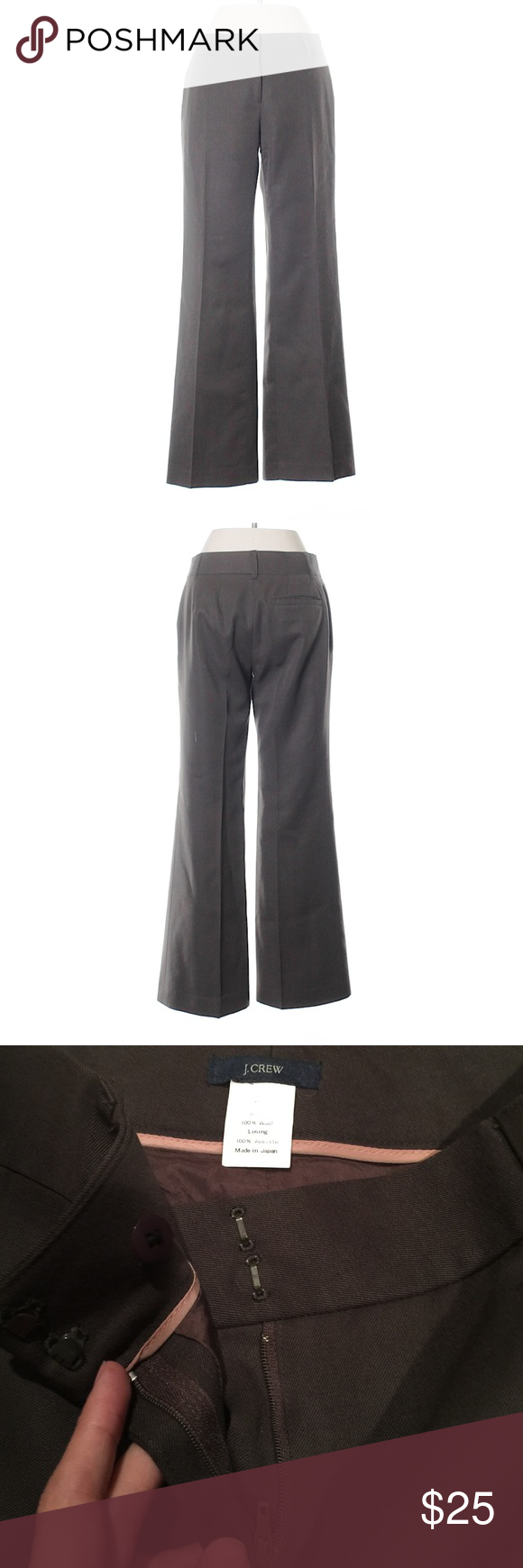 """J Crew Wool Pants J Crew Wool Pants. The perfect Pants for the office. Size 0P, boot leg cut, brown, midrise waist. 29"""" inseam. 100% wool. In great conditions, no flaws. J. Crew Pants Boot Cut & Flare"""