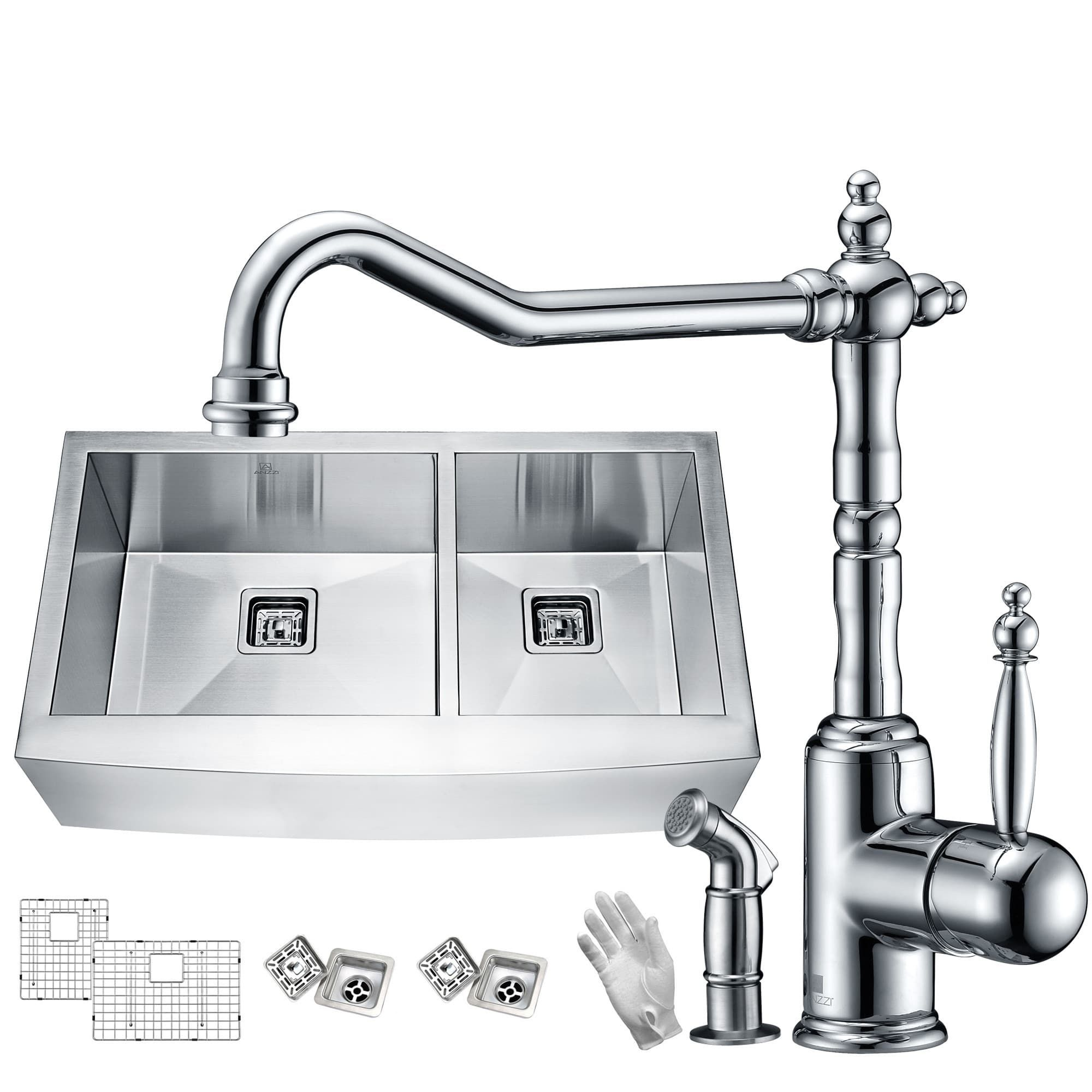 Elysian Farmhouse Stainless Steel 33 in. 60/40 Double Bowl