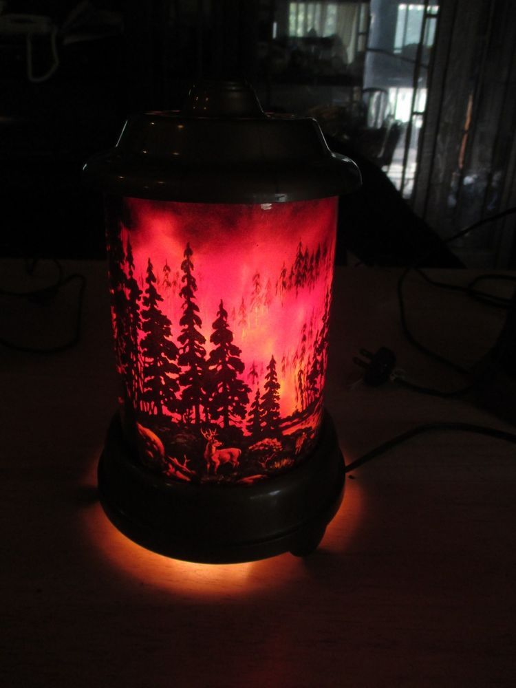 Vintage 1950 S A B Leach Econolite Forest Fire W Deer Fawns Motion Lamp Lamp Forest Fire Vintage