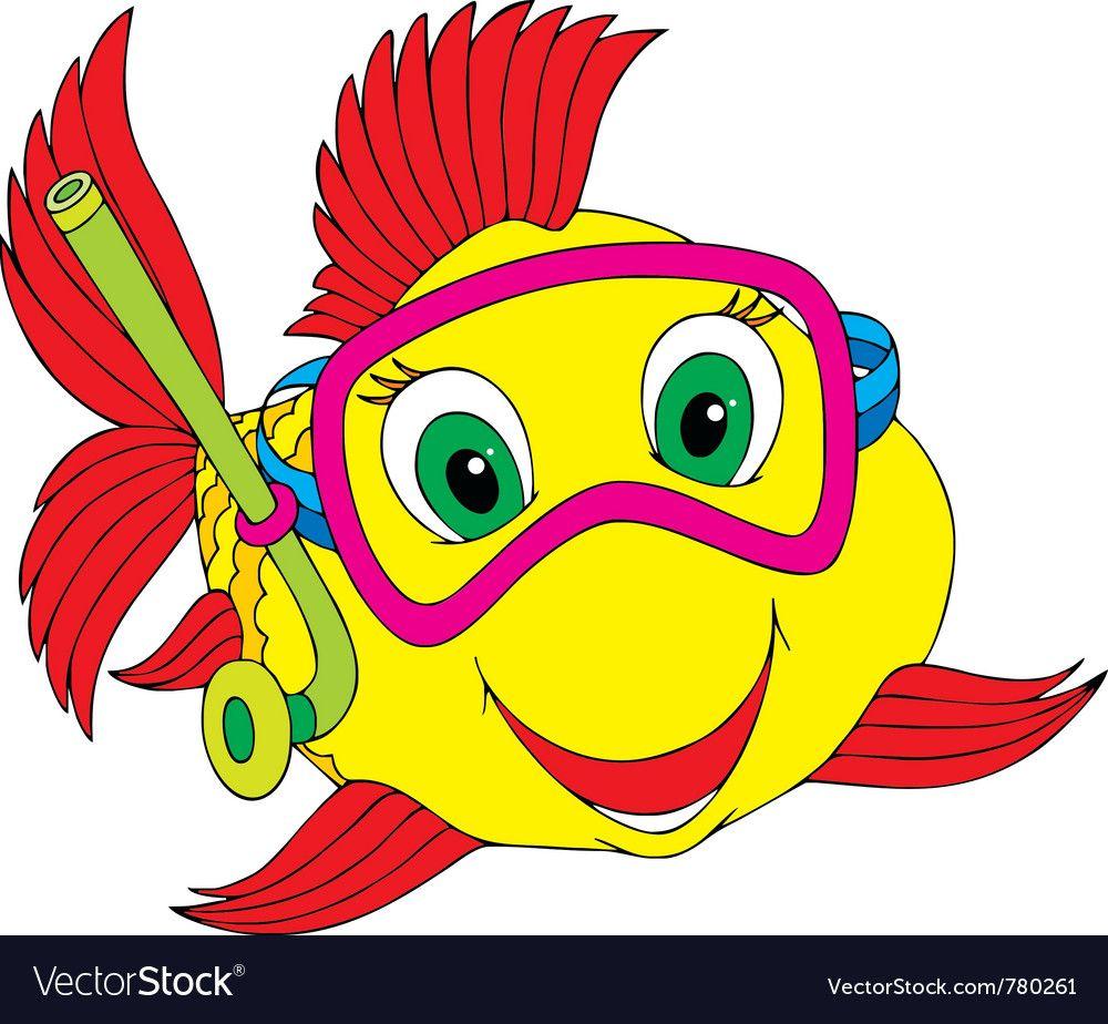 Fish Diver Vector Image On Vectorstock Fish Clipart Free Clip Art Clip Art