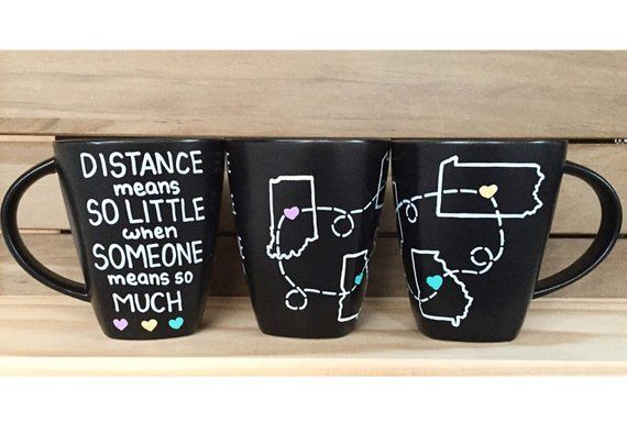 Custom Mugs - Long Distance States Mugs - Best Friends Mugs - Hand Painted Coffee Mug - Long Distance Love - Personalized (Set of 3) #custommugs