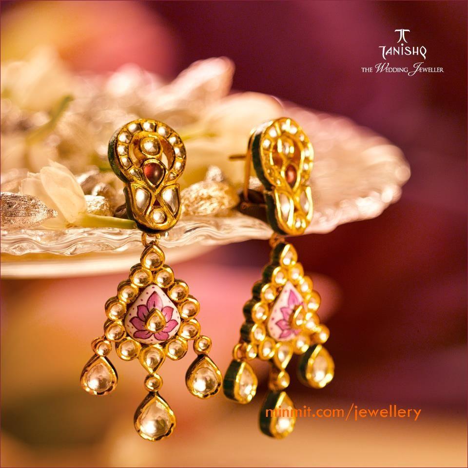 tanishq earrings studded with kundan diamonds and pink enamel work ...
