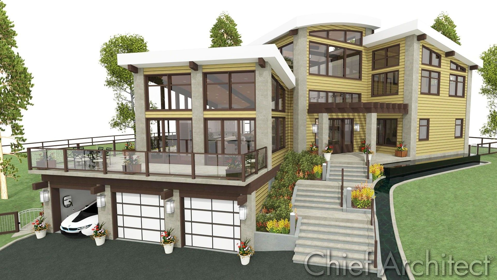 Steep Hillside House Plans House Architecture Design House Front Design Architecture House