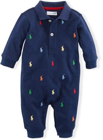 61d9eb88 Ralph Lauren Childrenswear Logo Embroidery Polo Coverall, Size 3-12 Months