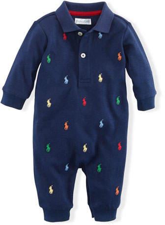 Infant Polo Ralph Lauren Kids Baby Boys Interlock Novelty Schiffli Coveralls