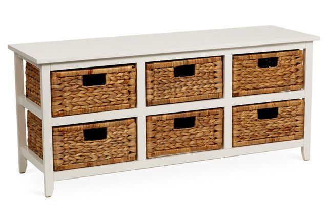 Addison 6 Basket Cabinet White Furniture Cabinet Shelving Storage