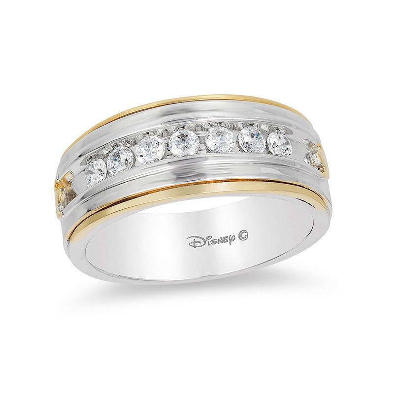 Enchanted Disney Men S 1 2 Ct T W Diamond Satin Wedding Band In