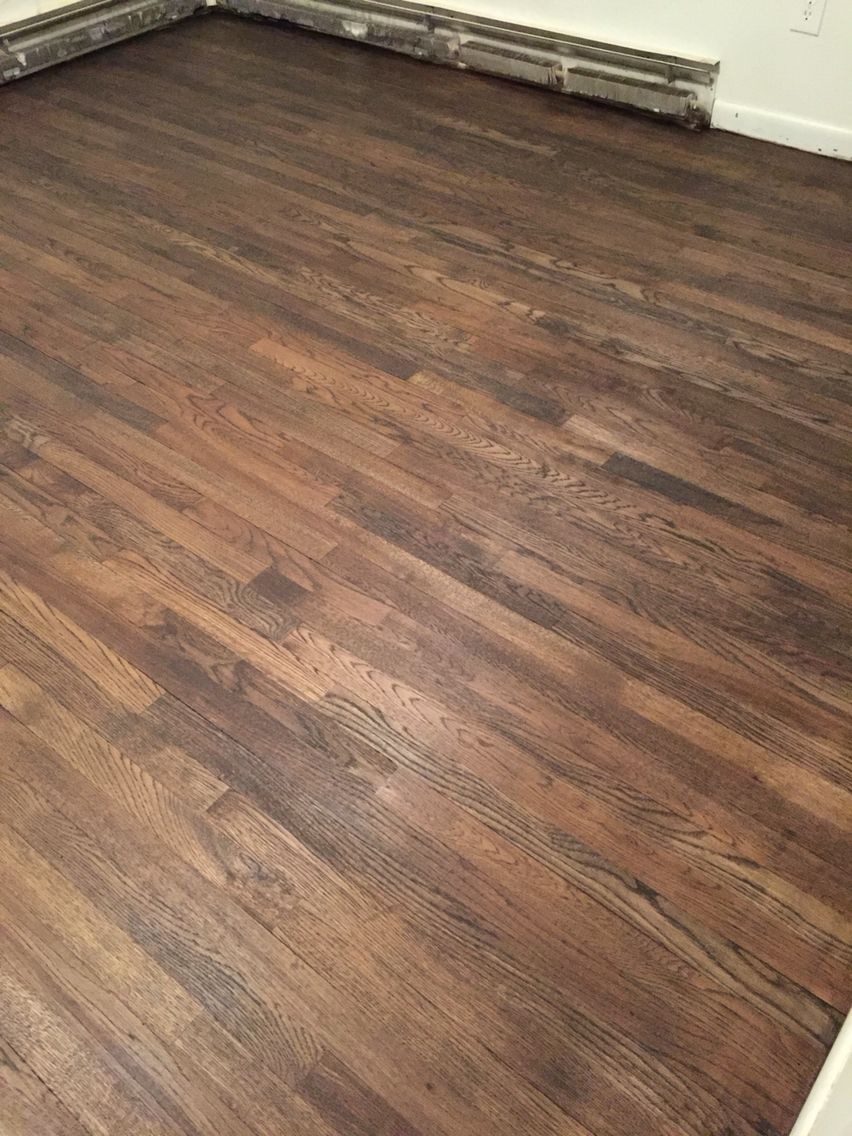 Red Oak Sanded Stained With Jacobean Color Stain And
