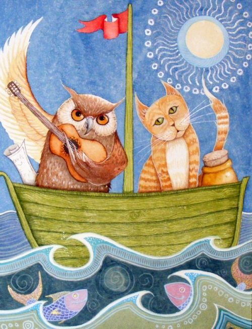 The Owl And The Pussycat - Detail  Illustrations  Owl -3396