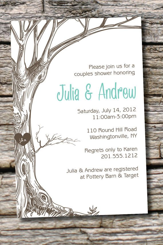 simple diy bridal shower invitations%0A VINTAGE TREE Initials Couples Shower Bridal Shower Invitation  You Print   DIY  Digital File