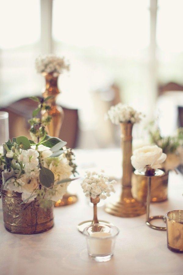 antique brass vases and white flowers reception decor ideas 1 rh pinterest com