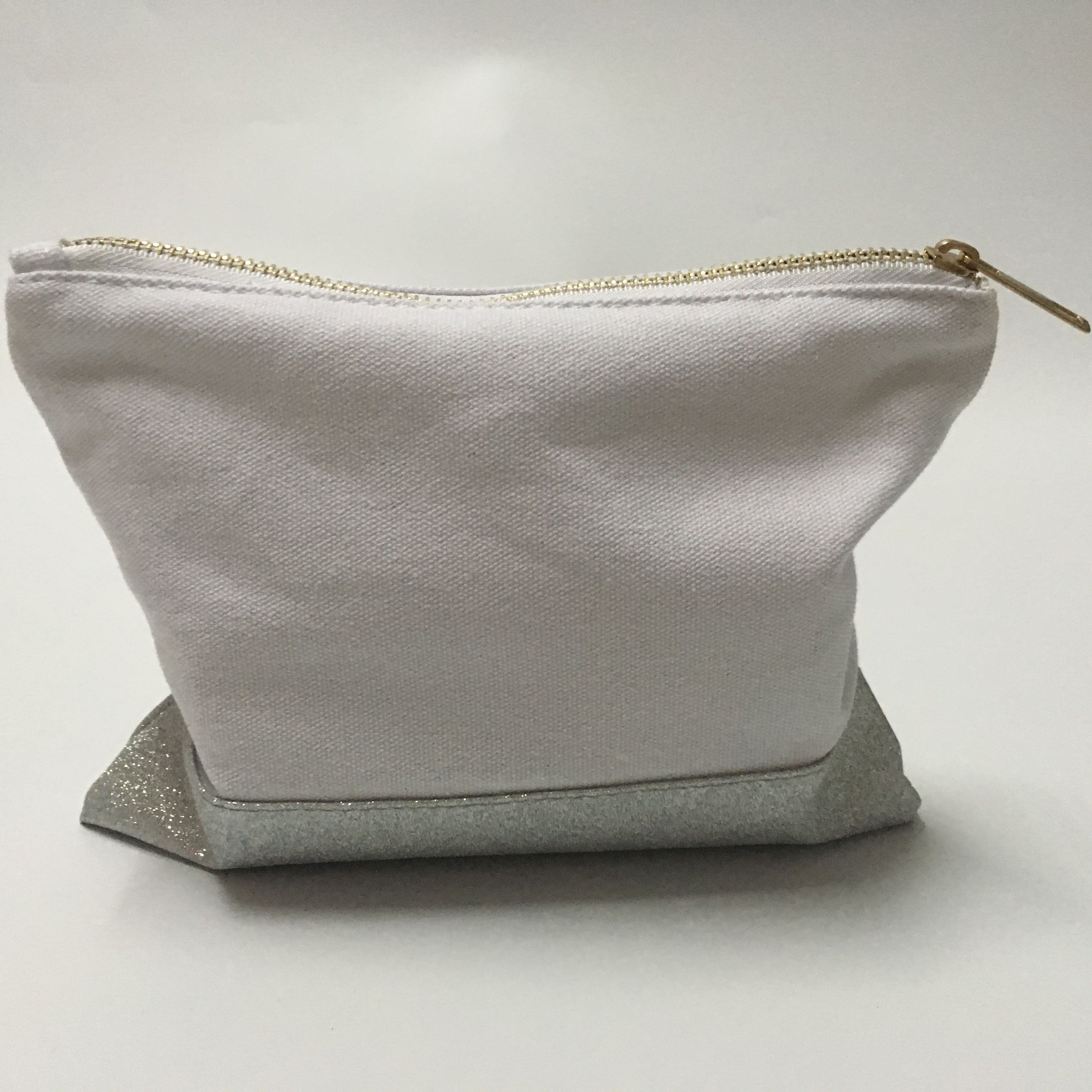 9*7 inch canvas glitter cosmetic bag with different color