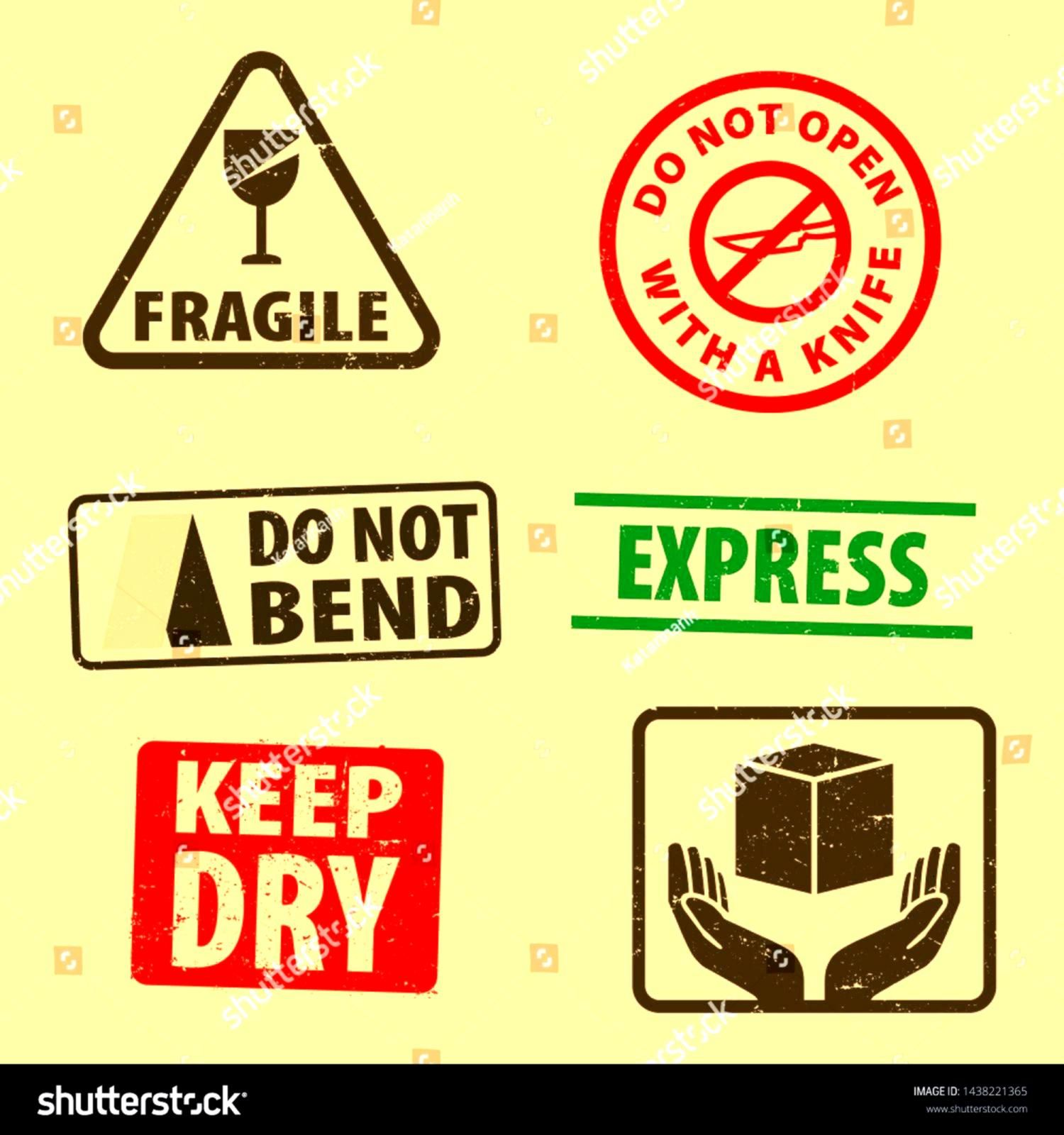 of fragile sticker keep dry and case icon packaging symbols sign fragile and Express rubber stamp on cardboard background vector illustration Use on package EPS10 Set of...