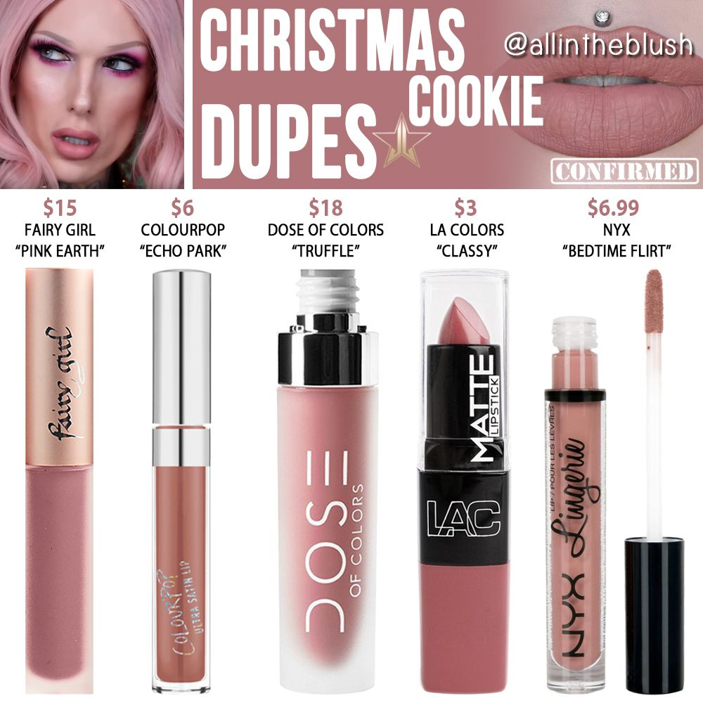 Jeffree Star Christmas Cookie Velour Liquid Lipstick Dupes – All In The Blush