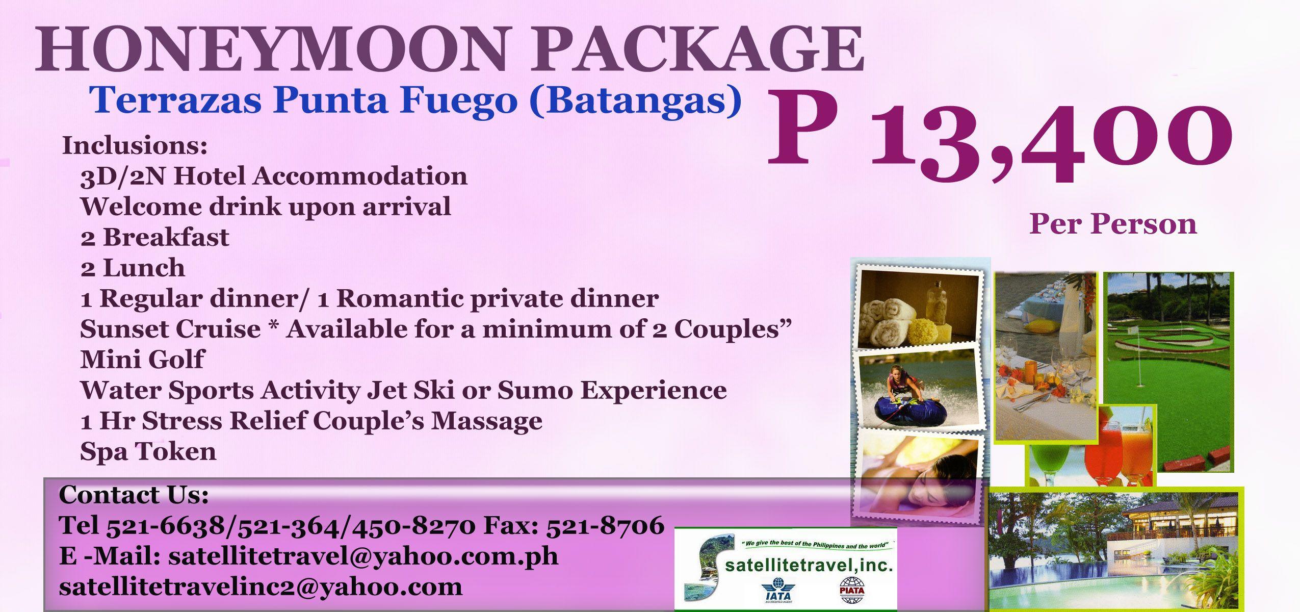 Honeymoon Package Terrazas Punta Fuego Batangas November 2012 Honeymoon Packages Honeymoon Packaging