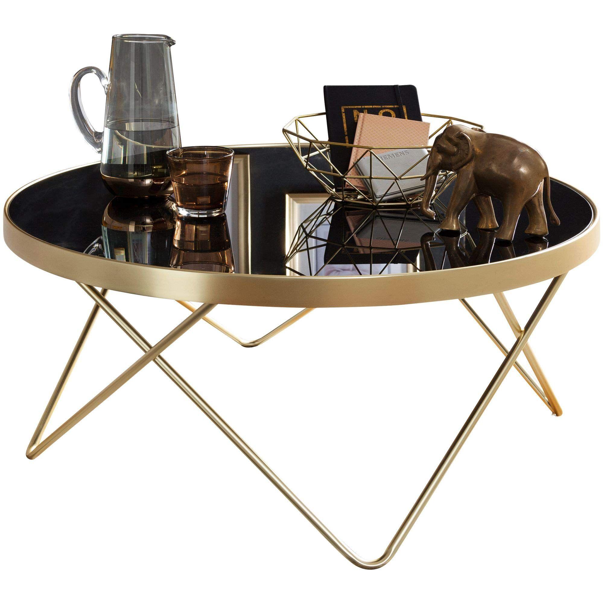 Finebuy Design Couchtisch O 82 Cm Schwarz Matt Gold Beistelltisch Metall Glas Tisch Mit Glasplatte In 2020 Couchtisch Beistelltisch Metall Glas Beistelltisch Metall