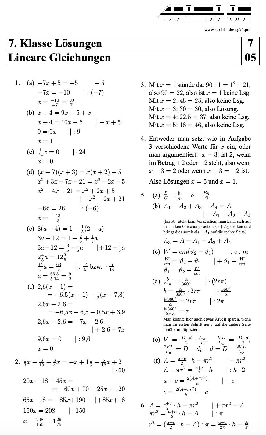 Lineare Gleichungen Ubungen Und Aufgaben Mit Losungen Pdf Download Nachhilfe Mathe Mathe Unterrichten Gleichungen