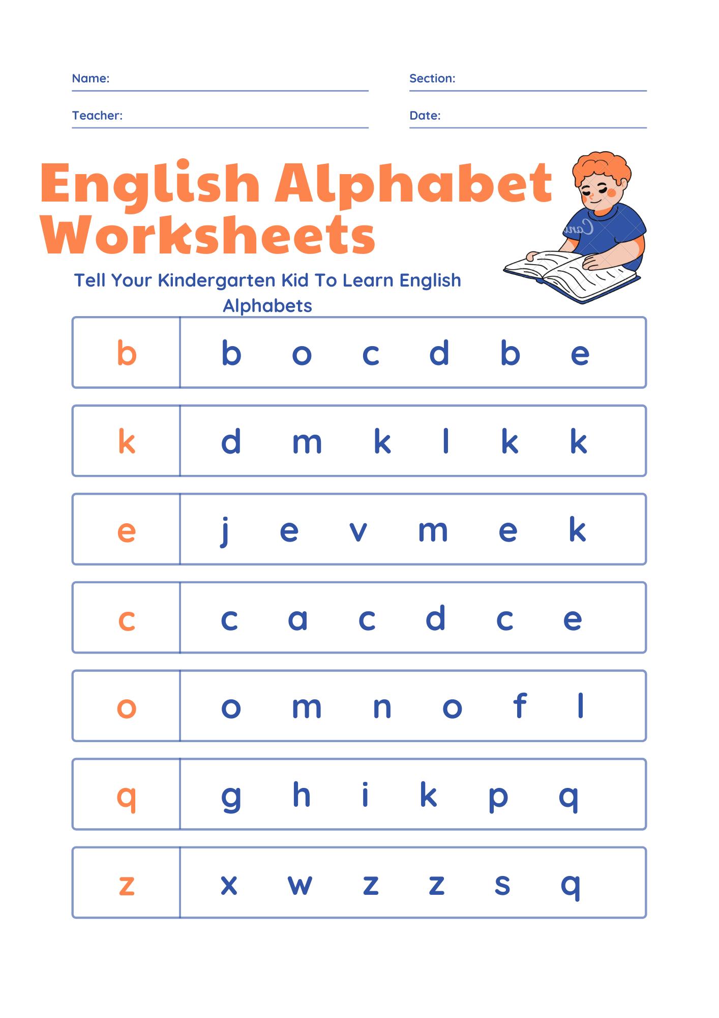 English Alphabet Worksheets For Kids Kindergarten Kindergarten Learning Kindergarten Learning Activities Kindergarten Reading Activities [ 2000 x 1414 Pixel ]
